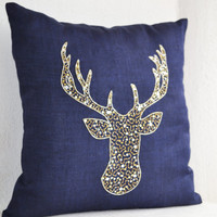 Deer Pillow Cover -Stag Embroidered in Gold Silver Sequin -Linen Pillows -Navy Blue Pillow -Navy Pillows- Christmas Euro Pillows 24x24- Gift