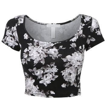White Floral Print Cap Sleeve Cropped Top