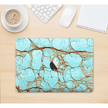 """The Cracked Teal Stone Skin Kit for the 12"""" Apple MacBook (A1534)"""