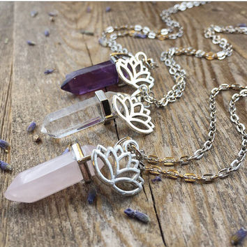 Lotus Crystal Necklace Amethyst Necklace Rose Quartz Girlfriend Gift for Her Crystal Healing Crystals and Stones Layering Bohemian Pendant