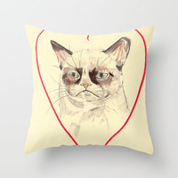Grumpy Cat Love Throw Pillow by Withapencilinhand | Society6