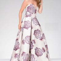 Blush Sweetheart Neck Floral Print Jovani Dress 48924