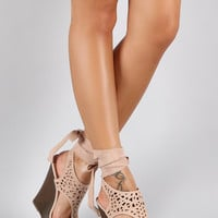 Bamboo Suede Leg Wrap Perforated Platform Wedge