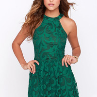 In Full Plume Green Lace Dress