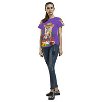 Cowgirl Sugar Skull Purple All Over Print T-Shirt for Women (USA Size) (Model T40) | ID: D1494800