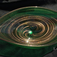Murano Emerald Green Elongated Gold Aventurine Centerpiece Bowl