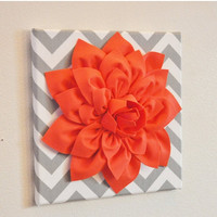 """MOTHERS DAY SALE Wall Flower Decor -Coral Dahlia on Gray and White Chevron 12 x12"""" Canvas Wall Art- Baby Nursery Wall Decor-"""