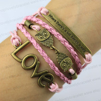 """The bronze's best friend, """"one way"""" owl bracelet, pink wax rope leather bracelet, and the gift of friendship"""