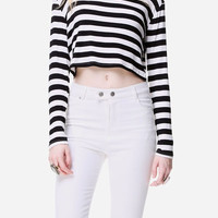 Striped Cropped Long Sleeved Shirt