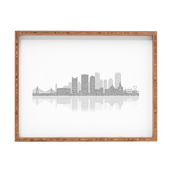 Restudio Designs Boston Skyline Reflection Rectangular Tray