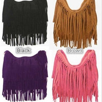 Celebrity Tassel Suede Fringe Leather Shoulder Messenger Handbag HOBO Bag = 1651540548