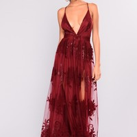 Sweet Sound Maxi Dress - Wine