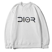 DIOR 2019 new laser sequin logo printing letter round neck sweater white