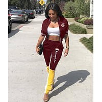 Champion Fashionable Women Casual Letter Embroidery Two-Piece Suit Burgundy