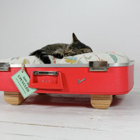 Upcycled Vintage Red Suitcase Pet Bed by AtomicAttic on Etsy