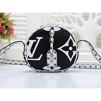 LV hot sale print matching color round shopping bag fashion casual lady shoulder bag #5