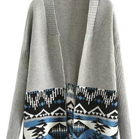 Gray Contrast Tribe Pattern Long Sleeve Open Front Knit Cardigan
