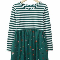 Green Striped Fireworm and Mushroom Kid Dress
