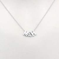 Personal, Upper case initial + & + Upper case initial, Gold, Silver, Necklace, Lovers, Friends, Mom, Sister, Gift
