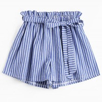 Belted Smocked Striped Shorts