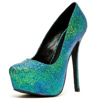 Qupid Mady 01X Iridescent Platform Pumps in Teal Green | shoes heels high heel shoes trendy shoes stilettos