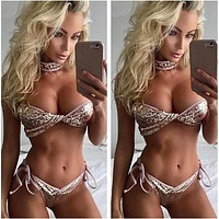 Trending Women Stylish Shiny Sequins Strapless Bottom Side Knot Two Piece Bikini Swimsuit I12784-1
