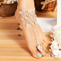 Hot Fashion Women One Pair Crystal Barefoot Sandals Beach Wedding Foot Anklet