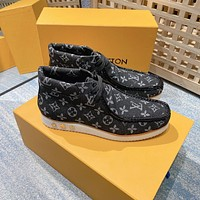 LV Louis Vuitton BEST QUALITY Men's Leather High Top Sneakers Shoes
