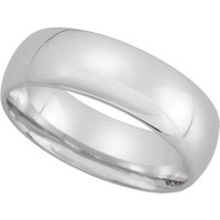 10K White Gold 7mm Comfort Fit Mens Plain Wedding Band (Available Ring Sizes 7-12 1/2)