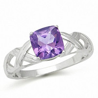 1.22ct. Natural February Birthstone Amethyst 925 Sterling Silver Solitaire X-Cross Ring Size 9