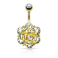 Flower Head Six CZ Gems Center Gold Ion Steel Barbell Belly Button Ring B486