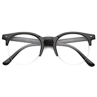 Indie Dapper Round Half Frame Clear Lens Glasses A061