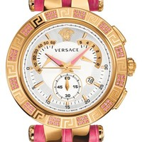 Women's Versace 'V-Race Precious' Chronograph Leather Strap Watch, 42mm - Pink/ Rose Gold