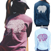 3 Colors New 2016 Summer Ivory Ella T-shirt Women Tops Tee Print Animal Elephant T Shirt Loose Full Long Sleeve Blusas Tops