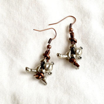 Teddy Bear Earrings, Pewter Bears and Leather earrings, Free Shipping, Unique Earrings, Gifts for Her