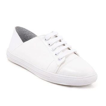 Women's Lace Up White Flats Shoes