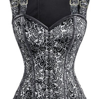 12 Steel Bone Double Buckle Straps Lace Up Silver Steampunk Corset Vest