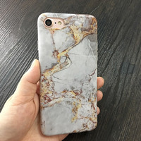 Gold Silver Marble Phone Case For iPhone 7 7Plus 6 6s Plus 5 5s SE