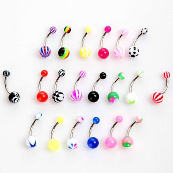 20pcs Colorful Stainless Steel Ball Barbell Curved Navel Belly Button Rings Bars Piercing H8822 Cosmetic (Color: Multicolor) = 1652510788
