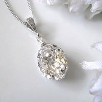 Swarovski Crystal Drop Bridal Necklace, Bridal Jewelry, Bridemaids Jewelry