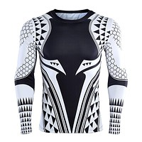 Aquaman 3D Printed T shirts Men Compression Shirt Newest Character Cosplay Costume Long Sleeve Tops For Male Fitness Cloth