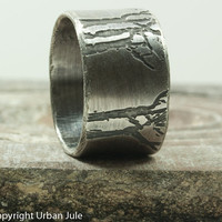 Sterling Silver Ring Etched Trees Unisex