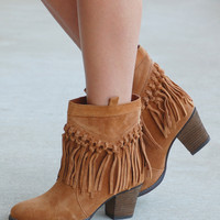 Sound All Fringe Bootie -Camel