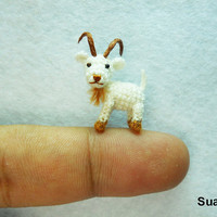 Miniature White Goat Teeny Tiny Crocheted Goats Made To by suami