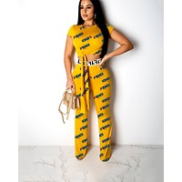Fendi 2019 new women's letter printing two-piece Yellow