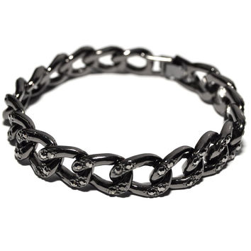 Gun Metal Iced Out Link Chain 10mm 7.5 Inch Clip Bracelet