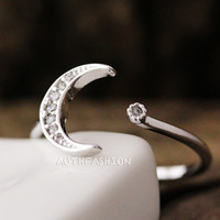Simple Crescent Moon Ring Adjustable Open ring Silver Plated Jewelry gift byr21