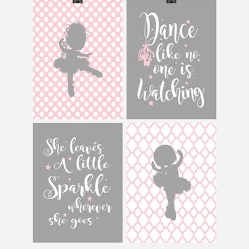 Ballerina Inspirational Nursery Decor Set of 4 Prints - Dance and Sparkle quotes