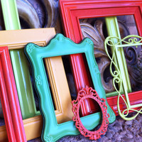 Vintage Frames, Lime, Pinocchio, Funky Home Decor, Bright Frames, Upcycled
