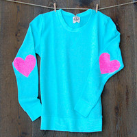 Heart Elbow Patch Sweatshirt -  Mint Long Sleeve French Terry Sequin Heart Elbow Patch Women's Top Boho Sequin Patch Cloud Jumper